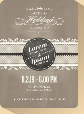 vintage wedding invitation cards vectors