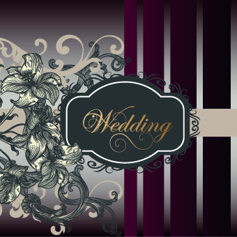 vintage wedding invitation deaign vector background