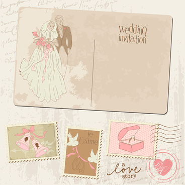 vintage wedding postcard with postage stamps vector