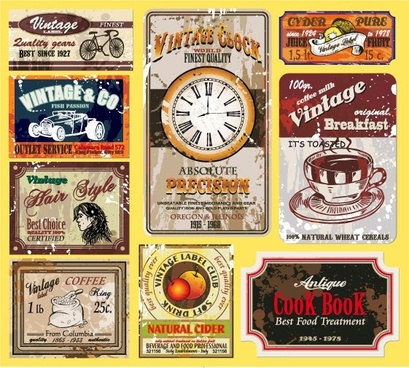 vintage wine label collection 01 vector