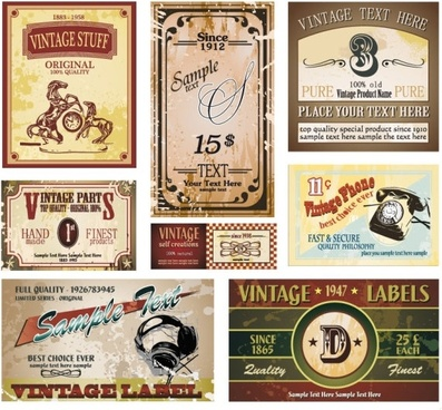 vintage wine label collection 05 vector