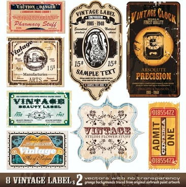 labels templates flat vintage design