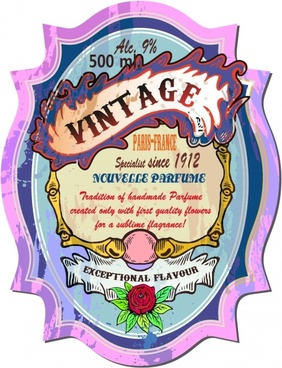 vintage label template colorful grungy rose frame sketch