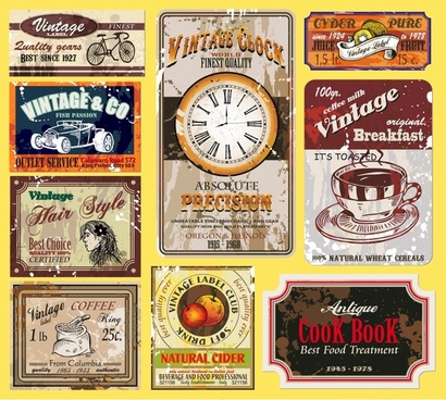 vintage labels templates colorful old grunge decor