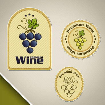 vintage wine sticker labels vector