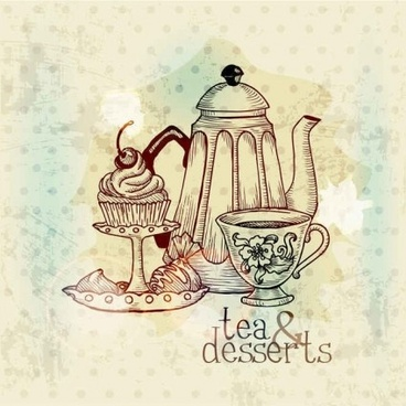vintage with retro tea hand drawning vector