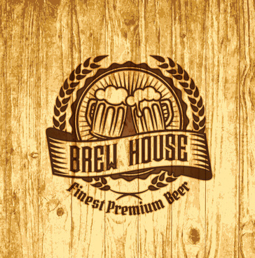 vintage wooden beer labels vector