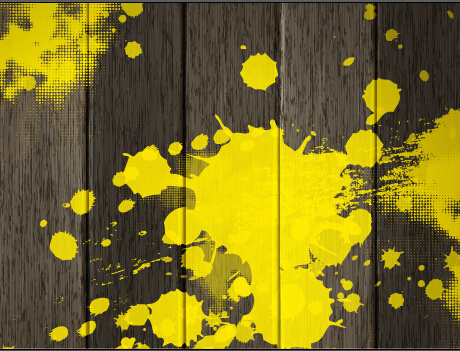 vintage wooden board with yellow paint background