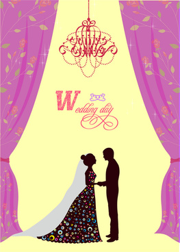 violet curtain decoration wedding card
