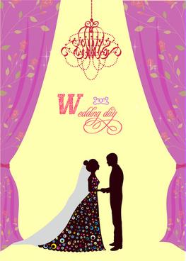 violet curtain decoration wedding card
