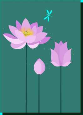 violet lotus background cartoon drawing dragonfly icon decor