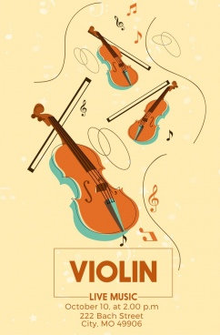 violin concert poster instruments music notes icons decoration