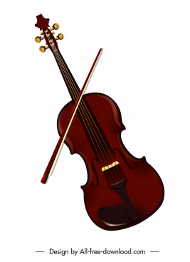 violin instrument icon elegant brown design