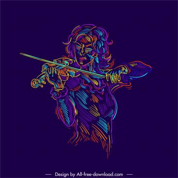 violinist icon handdrawn colors blended sketch