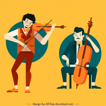violinists icons colored cartoon characters sketch