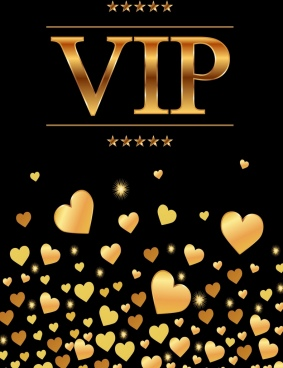 vip background golden hearts texts stars decor