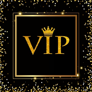 vip background sparkling decor golden texts crown icons