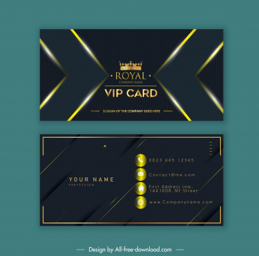 vip business card template luxury dark golden crown