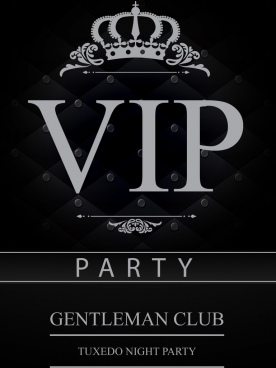 vip card template classical dark design crown icon
