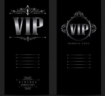 Vip card template free vector download 23276 free vector for vip card template dark silver decor vintage style maxwellsz