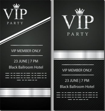 vip card template elegant black white decor