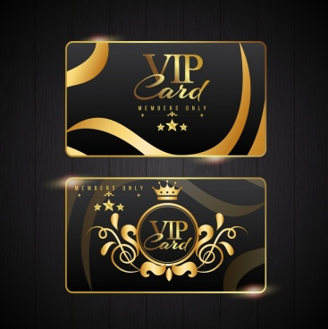 vip card template golden luxury decor classical design