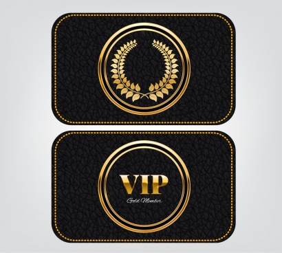 vip card template leather background shiny golden decor