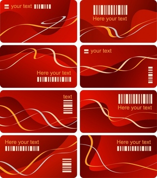 vip card templates bar code abstract curves ornament