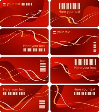 vip card templates bar code abstract curves ornament