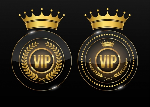 vip guarantee stamp golden crown icon decoration