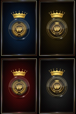 vip logo sets shiny elegance crown circles icons