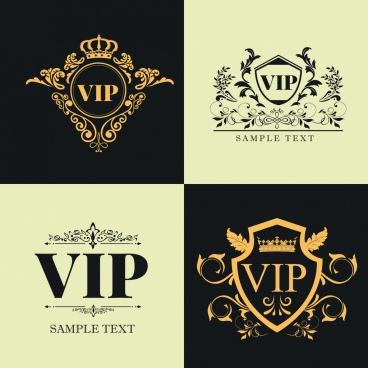 vip logo templates classical symmetric design