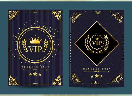 vip member card template golden royal design