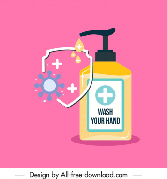 virus protection poster handwash gel shield sketch