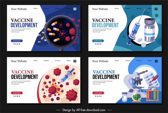 virus protection webpage templates disease medicine elements sketch