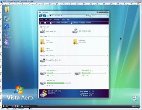 vista aero psd interface hierarchical file