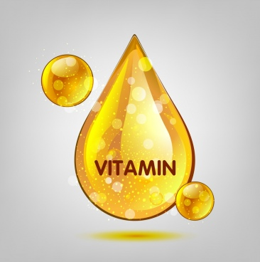 vitamin advertisement shiny golden droplets icons