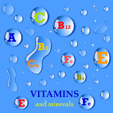 vitamin and minerals vector illustration with water drops