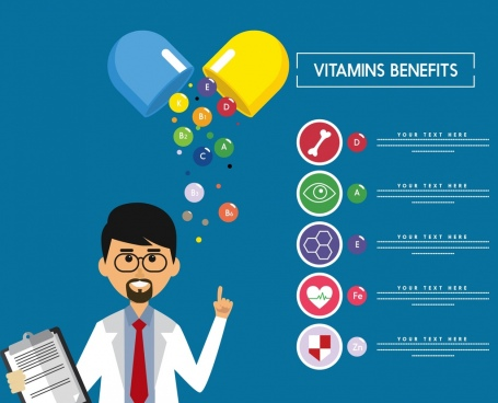 vitamin benefit banner doctor capsule icons colored decoration