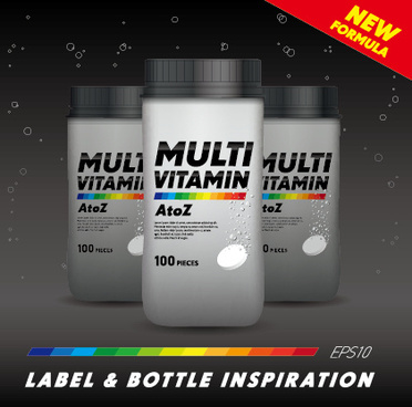 vitamin box design vector