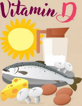 vitamin d advertising fish sun butter mushroom icons