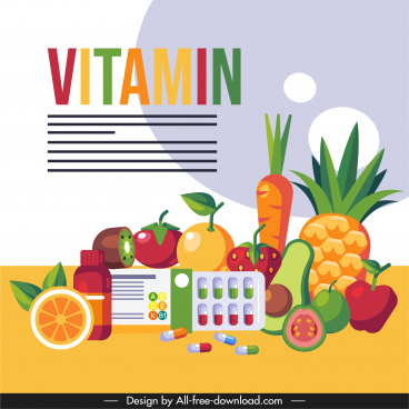 vitamin food banner colorful fruits capsule sketch