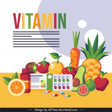 vitamin food banner colorful fruits capsule sketch