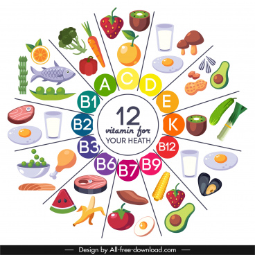 vitamin food infographic banner bright colorful circle layout
