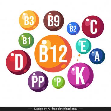 vitamin icons shiny colorful circles texts sketch