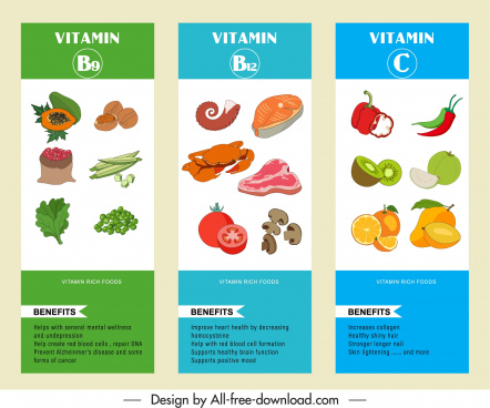 vitamin variety infographic templates colorful handdrawn design