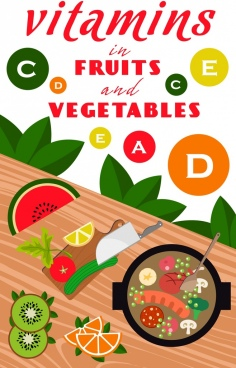 vitamins promotion banner kitchenware food preparation icons