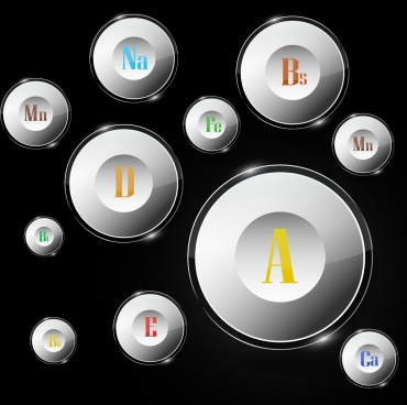 vitamins sign icons shiny 3d white circles design