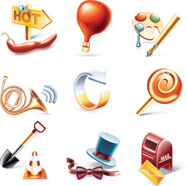vivid 3d icons mix vector graphics
