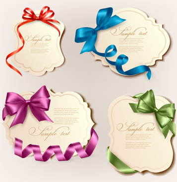 vivid bow with ribbons labels vector
